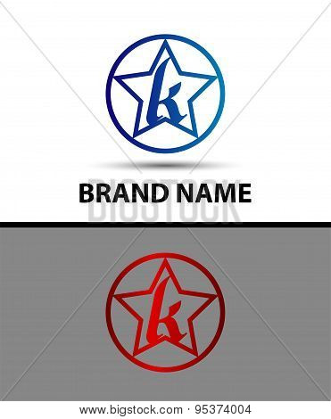 Letter K logo with star sign design vector template