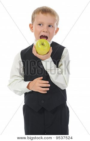 Boy Eats An Apple