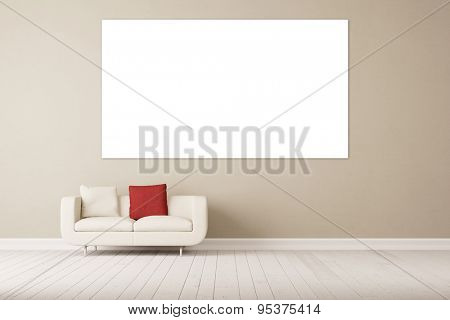 Wall with white canvas and sofa in front of it in living room (3D Rendering)