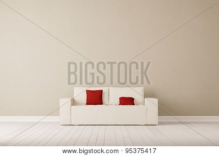 Sofa with pillows in front of wall in a living room (3D Rendering)