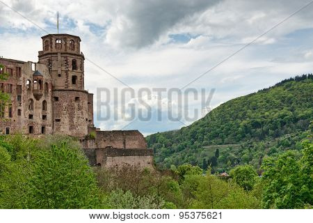 Historic Ruins of Heidelberg Castle Nestled in Lush Green Hillsides Overlooking Heidelberg, Baden-Wurttemberg, Germany