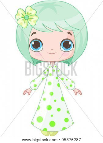 Illustration of cute girl wearing pajamas