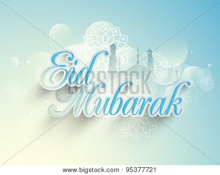 Stylish paper text Eid Mubarak on shiny traditional floral design decorated, mosque silhouette sky blue background for muslim community festival celebration.