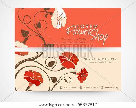 Flower shop website banner or header set.