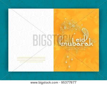 Beautiful greeting card design with stylish text Eid Mubarak, hanging stars and firecrackers on grungy yellow background for famous festival of Muslim community celebration.