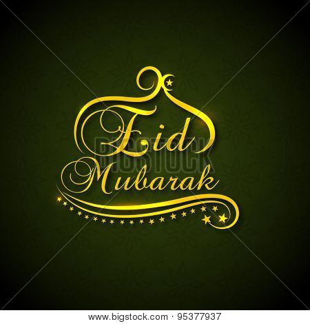 Beautiful greeting card with golden text Eid Mubarak on floral design decorated green background for famous Islamic festival, Eid celebration.