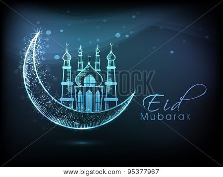 Muslim community festival, Eid Mubarak celebration with illustration of mosque on shiny crescent moon.