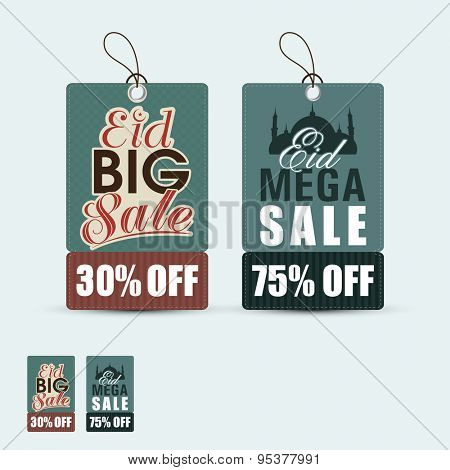 Stylish sale tags with discount offer for muslim community festival, Eid celebration.