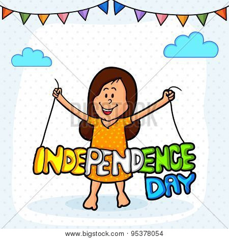 Cute little girl holding stylish tricolor text on colorful buntings decorated background for Indian Independence Day celebration.