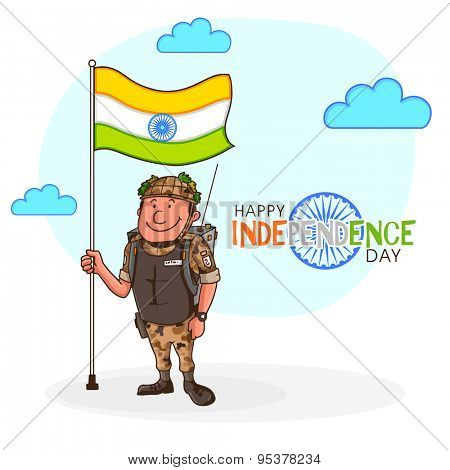 Happy soldier in uniform, holding national flag on clouds decorated background for Indian Independence Day celebration.
