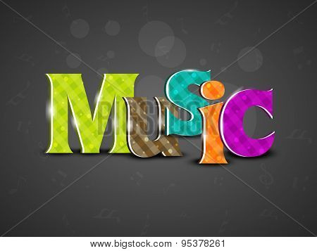 Stylish colorful text of Music on seamless dark grey background.