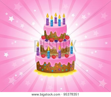 Birthday cake theme image 2 - eps10 vector illustration.