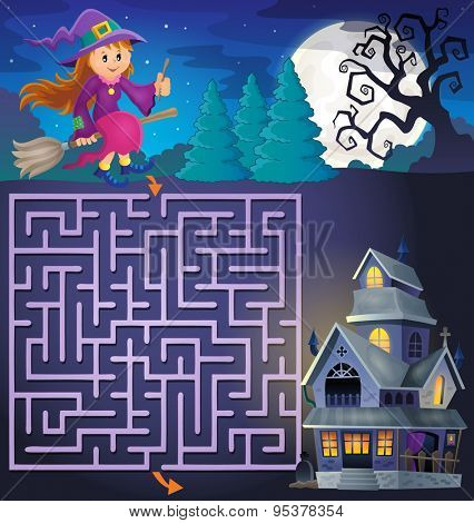 Maze 3 with cute witch and haunted house - eps10 vector illustration.
