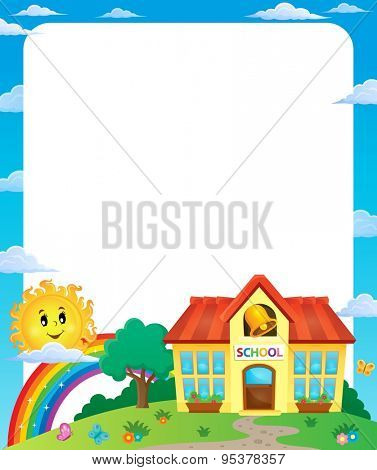 School building theme frame 1 - eps10 vector illustration.
