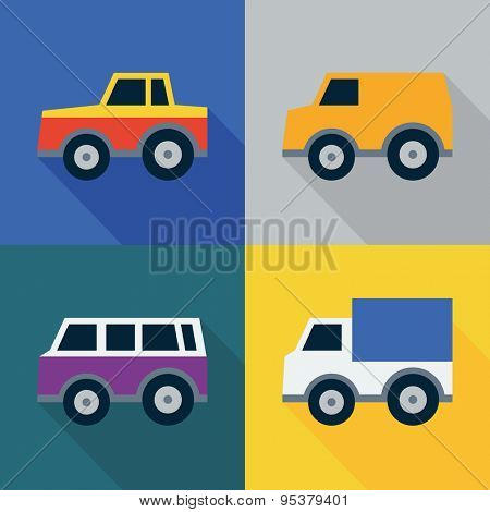 Set of car icons. Flat design style. Vector illustration