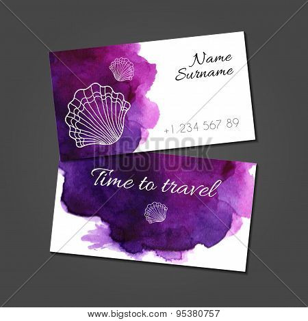 Business card with seashells on watercolor stain