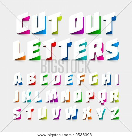 Alphabet letters cut out from paper. Vector.