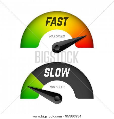 Fast and slow download speedometers. Vector.