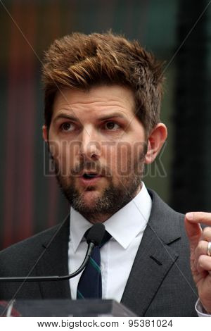 LOS ANGELES - JUL 1:  Adam Scott at the Paul Rudd Hollywood Walk of Fame Star Ceremony at the El Capitan Theater Sidewalk on July 1, 2015 in Los Angeles, CA
