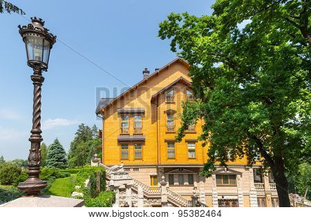 Novi Petrivtsi, Ukraine - May 27, 2015 Mezhigirya residence of ex-president of Ukraine Yanukovich. Side view of