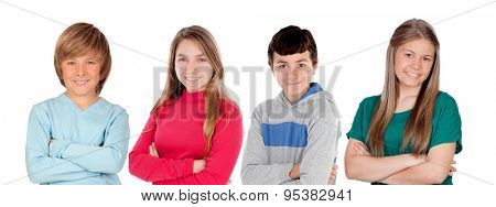 Four preteen friends isolated on a white background