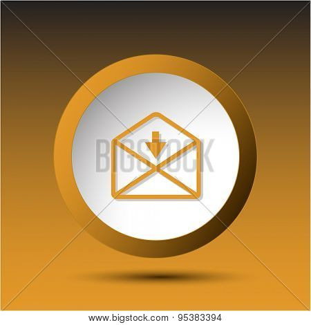 mail downarrow. Plastic button. Vector illustration.
