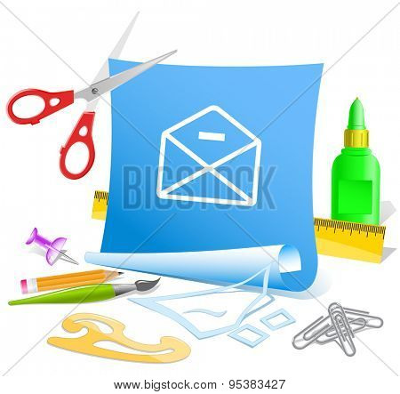 mail minus. Paper template. Vector illustration.