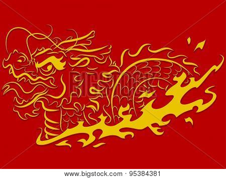 Stencil Illustration of a Golden Dragon Riding in Flames