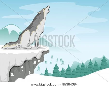Illustration of a Wolf Howling on Top of a Snowy Mountain