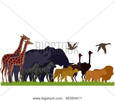 Illustration of Safari Animals Migrate in Groups
