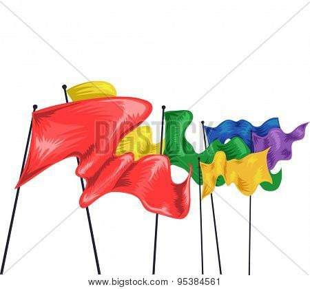 Illustration of Colorful Flags Fluttering in the Air