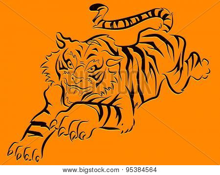 Illustration of a Bengal Tiger with its Claws Outstretched
