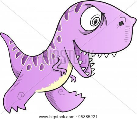 Wild Crazy Dinosaur Vector Illustration Art