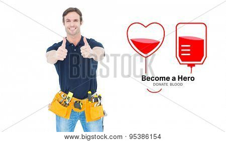 Man wearing tool belt while showing thumbs up sign against blood donation