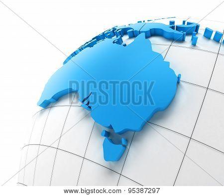 Globe of Australia with national borders