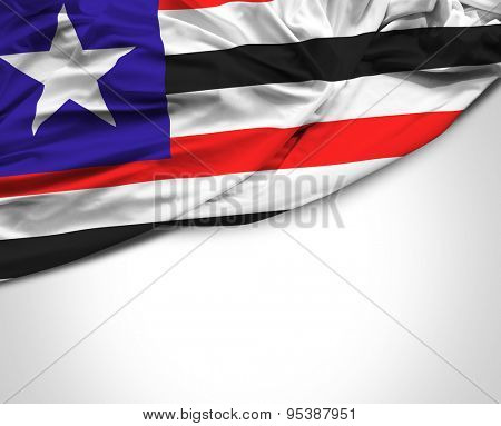 State of Maranhao, Brazil waving flag on white background