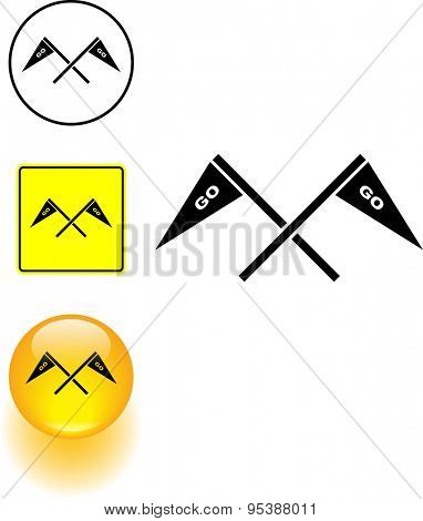 go cheering flags symbol sign and button