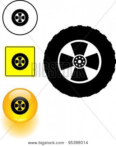 off-road tire symbol sign and button