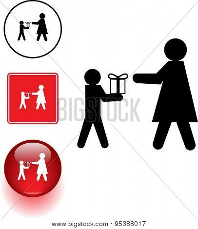 kid giving a gift to his mother symbol sign and button