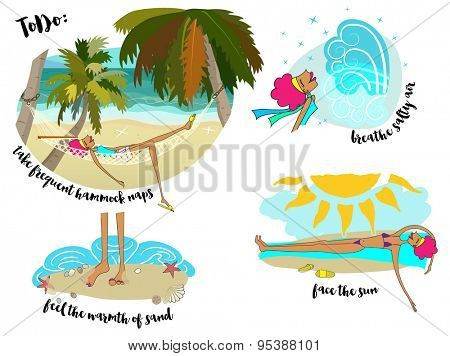 To Do List - Illustrated to-do list for summer vacation, recommending hammock naps, playing in the sand, rest and relaxation. Hand drawn, cartoon style illustration
