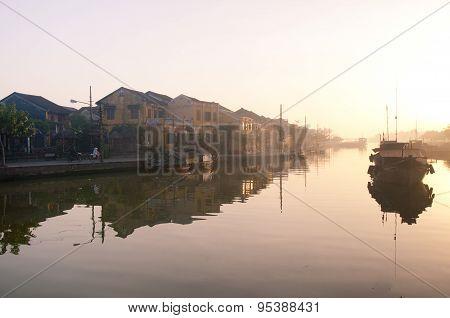 Beautiful sunrise in Hoian, Vietnam