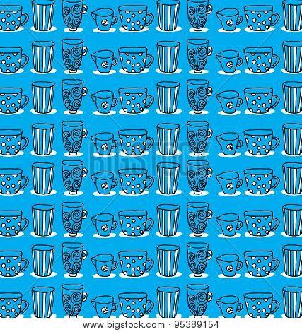 pattern of a set of mugs