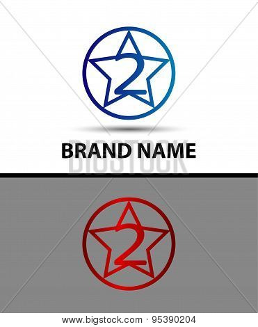 Number one 2 logo icon design template