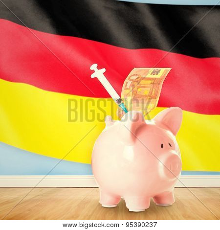 Health insurance concept against digitally generated german national flag