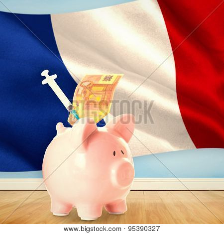 Health insurance concept against digitally generated french national flag