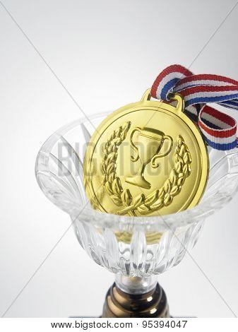 golden medal on the white background