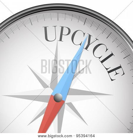 detailed illustration of a compass with Upcycle text, eps10 vector