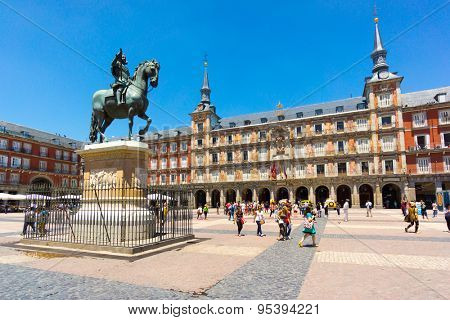 MADRID - JUNE,18: Tourists visit famous place Plaza Mayor on June 18, 2015 in Madrid