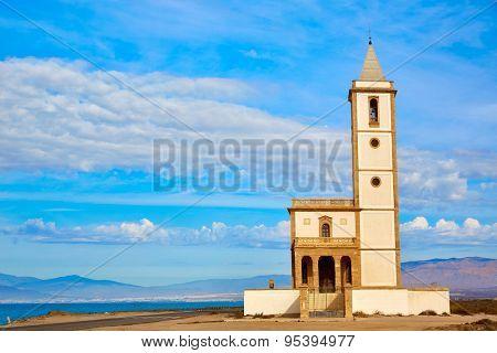 Almeria Cabo de Gata Salinas church in San Miguel Beach at Spain