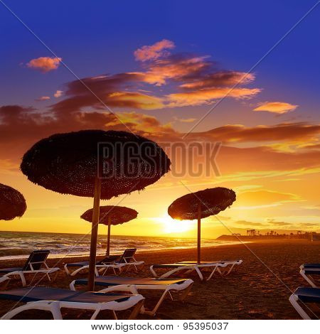 Almeria Cabo de Gata sunset in Retamar beach at Spain